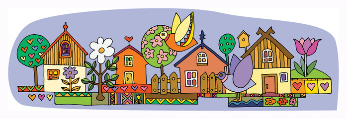 Colorful houses set, hand drawn illustration