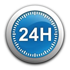 24 heures sur bouton bleu