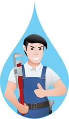 Plumber in a drop of water