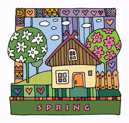 Colorful houses and garden - spring, hand drawn illustration