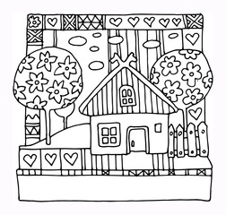 House and garden - spring, hand drawn illustration