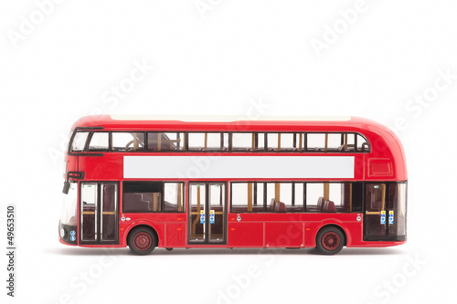 toy model red london bus on a white with copy-space Poster
