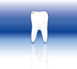 Dente su sfondo blu