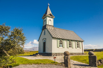 Old wooden church Pingvallkirkja - Iceland.
