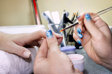 Woman in nail salon