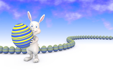Cute easterbunny carrying an big easter egg