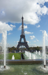 view of Eiffel Tower over fountains, Paris