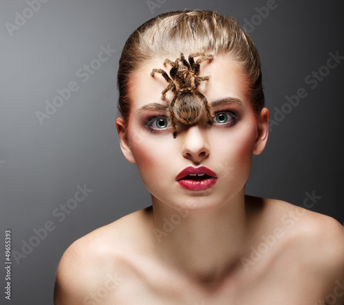 Scary Arachnid Predator on Beauty Woman Face sitting