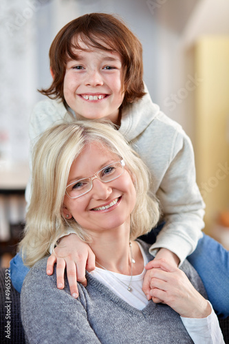 Mother and son at home