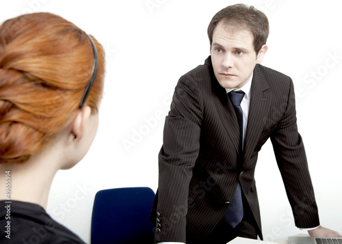 Employee confronting her boss