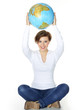 Woman holds the world globe over her head