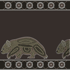 illu.based on aboriginal style of dot painting:wombat