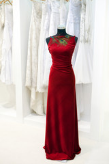 Elegant red dress on a mannequin