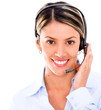 Telemarketing agent with headset