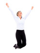 Successful businesswoman jumping