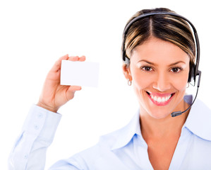 Telemarketing agent holding a card