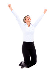 Successful businesswoman jumping