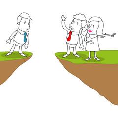 Geschäftsleute, Team, Herausforderung, Mut, Abgrund