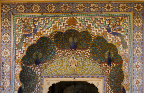 Travel India: peacock gate in Royal palace Jaipur from the fron