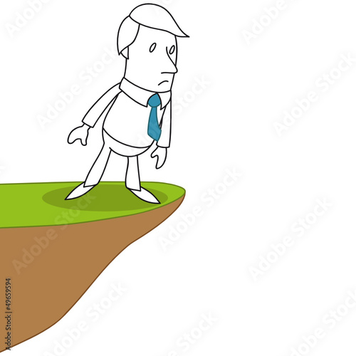 Geschäftsmann, Herausforderung, Mut, Abgrund