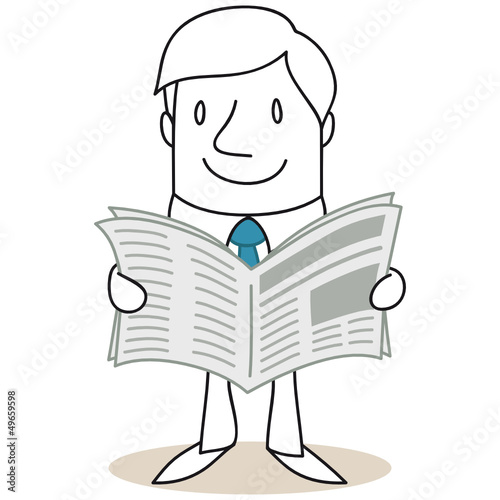 Geschäftsmann, Zeitung, lesen, Neuigkeiten, Infos
