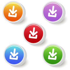 Five colorful buttons with download icon