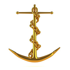 Golden anchor with chain front view
