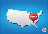 Atlanta on USA map