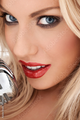 Glamorous blonde vocalist or diva