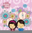 Cute girl and boy vector background