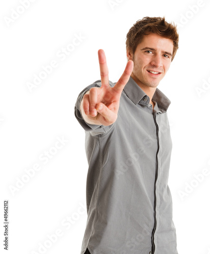 Man doing victory sign