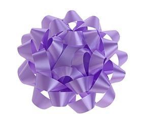 Purple bow on white background.