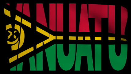 Vanuatu text with fluttering flag animation