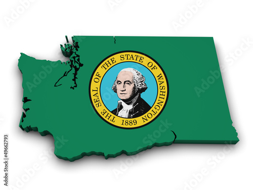Washington State Map Flag Shape