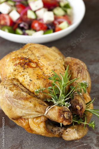 Roasted Chicken with Herbs and Greek Salad