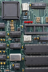 Green circuit board, close up