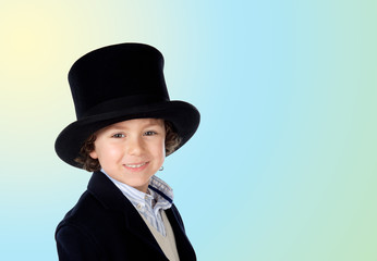 Adorable child with a black top-hat