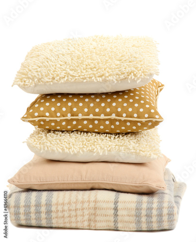 Hill colorful pillows and plaid isolated on white - 49664110