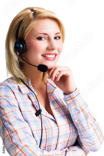 junge blonde Frau mit Headset