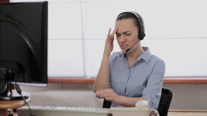 Call center operator having headache