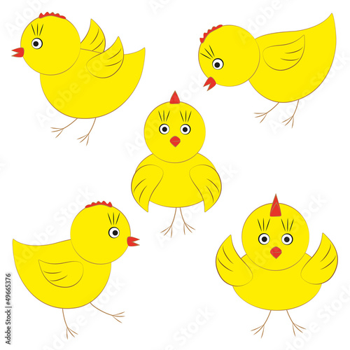 Vector cute yellow chicks