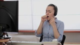Call center operator coughing in the office