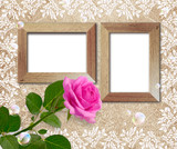 Rose and wooden frame