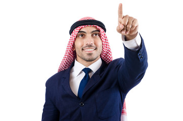 Arab businessman pressing virtual buttons