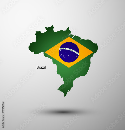 Brazil flag on map