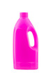 Pink plastic bleach bottle isolated on white background