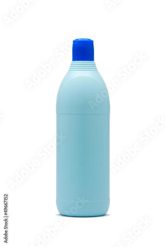 Blue plastic bleach bottle isolated on white background