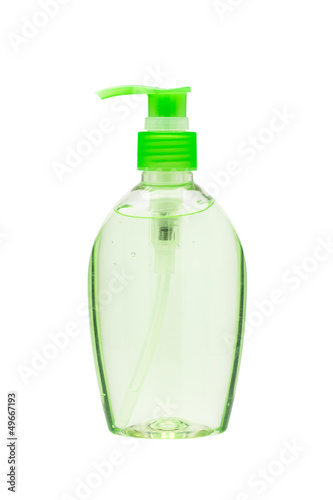 Hand sanitizer bottle with a pump dispenser isolated on white ba