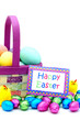 Easter basket with colorful eggs and Happy Easter card