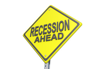 Recession Ahead Yield Sign White BG